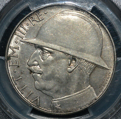 Italy 1928 R 20 Lire KM 70 PCGS AU Details 10th Ann Commem End WWI Silver coin