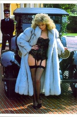 Morgan Fairchild - In Black Lingerie And A Fur In Front Of An Old Car !!!!