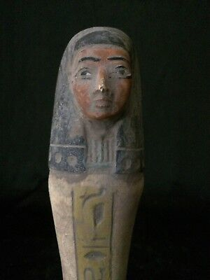 Rare ANCIENT EGYPTIAN SHABTI EGYPT Antique Ushabti GODS STATUE STONE 292-716 BC