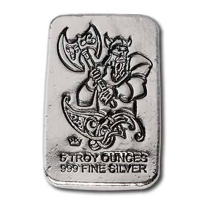1  -  5 oz. 999 Fine Silver Bar - Monarch Viking Battle Axe - Hand Poured