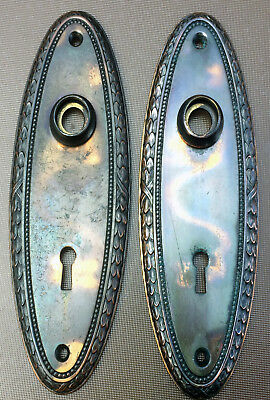 "Vintage Set 7"" JAPANNED DOOR KNOB BACKPLATES* Oval* Copper Flash  (#509) #2 set"
