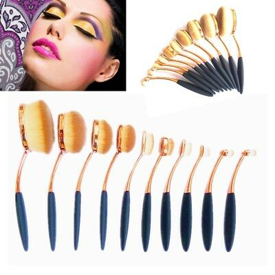 10PC Professional Oval Cream Makeup Brush Set Kabuki Toothbrush Eyeshadow Tool