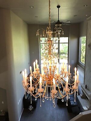 Brass And Crystal Chandelier For Sale