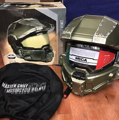 NEW NECA Master Chief HALO Motorcycle Helmet DOT Certified Size XL - READ