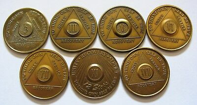 AA Bronze Alcoholics Anonymous Mixed Lot Sobriety Chip Coin Token Medallion