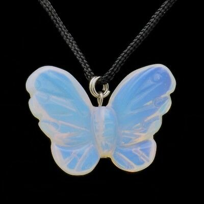 Butterfly Opalite Gemstone Pendant Hand Carved Stone Necklace