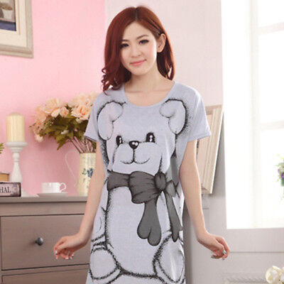 Ladies Women Summer Short Sleeve Nightgown Sleepwear Pajamas Dress Cartoon G