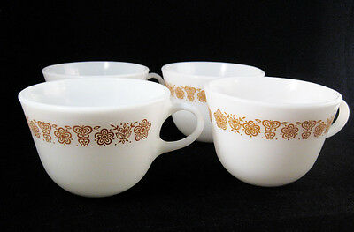 Vintage Pyrex Coffee Cups Mugs Butterfly Gold (lot of 4) U.S.A.