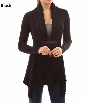 Ladies Open Front Belted Blazers Long Sleeve Womens Duster Coat Cardigan G