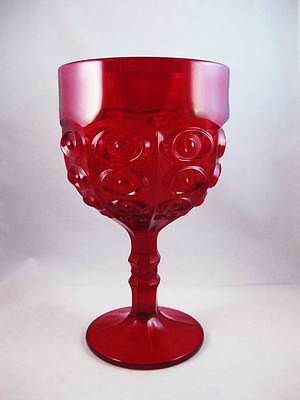 "Viking Glass Yesteryear Bullseye Large Ruby Red Compote Goblet 9"" Circa 1960's"
