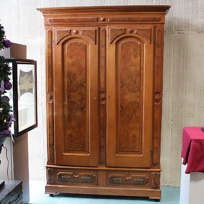 Antique Victorian Solid Burled  Walnut 2 Door/ 2 Drawer Break-down Armoire
