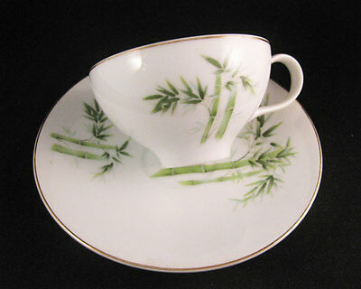 Vintage Orient China Green Bamboo Tea Cup And Saucer Set Made In Japan