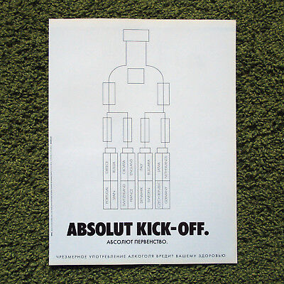 ABSOLUT KICK-OFF vodka print ad from Russian magazine GQ 2004 ПЕРВЕНСТВО