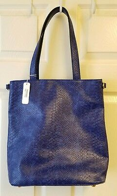 Nwt White House Black Market Blue Faux Alligator Clutch Purse