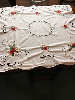 2 X Christmas Square Table Cloths. Cotton Cut Out And Baubles Vintage Style