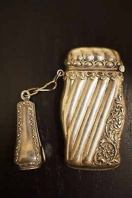 Antique Match Safe Sterling Silver With Cigar Cutter