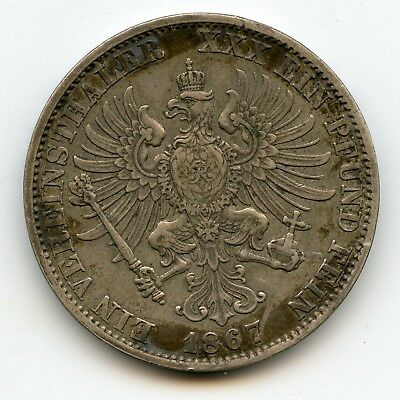 Genuine Silver 1867-A Prussia Germany Thaler