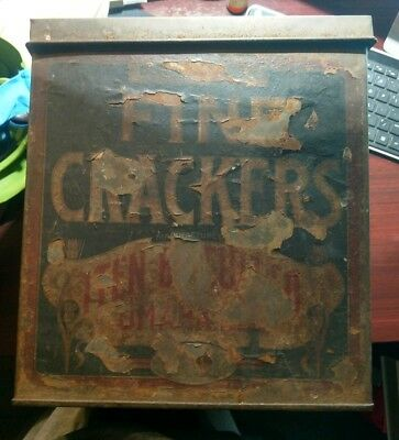 Vintage 1908 Iten Biscuit Co. Fair Soda Fine Crackers Tin Metal Canister Box