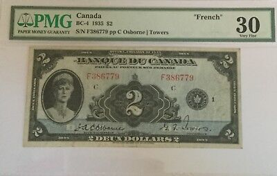 Bank of Canada 1935 $2 BC-4 VF-30 Rare Osborne-Towers French note  **NO TAX**.