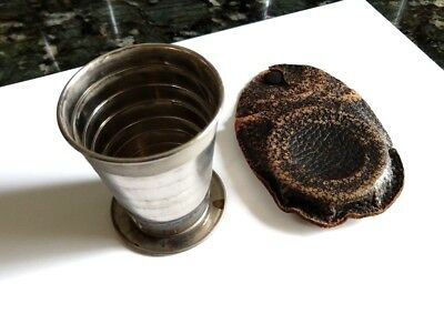 RARE Antique - silver Plated Collapsible Drinking Cup w/ leather case, 100 years