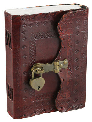 "Leather Journal w/ Lock & Key - Flower Design / 5""x7"""