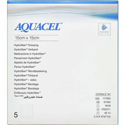 x5 Aquacel Hydrofiber Dressing 15cm x 15cm Wound Ulcers Burns Aid 177903