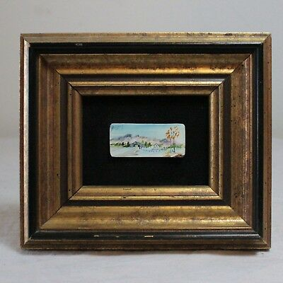 Miniature Oil Painting On Antique Piano Key Landscape w/ House by Rita Brey
