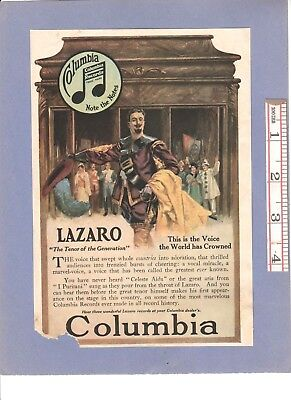 "Vintage Antique 1916 COLUMBIA RECORDS ""Lazaro"" Tenor Color Ad + FAIRY SOAP Ad"
