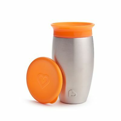 Munchkin Miracle Stainless Steel 360 Sippy Cup, Orange, 10 Ounce - F37