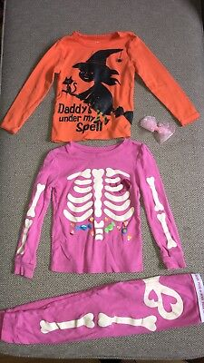Carters Girls Witch Top Glow In The Dark Skeleton Halloween Pajama 3T Bundle