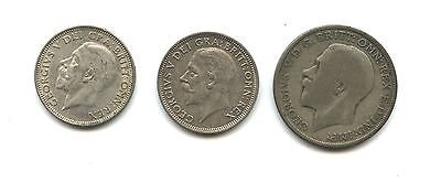 Collection of 3 British coins:  1920-Florin; 1927 & 1935 shillings
