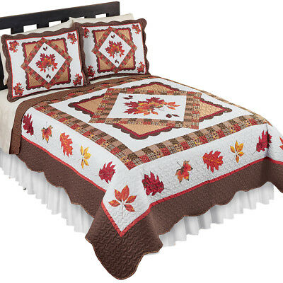 Fall Leaves Patchwork Quilt, Reversible, Holiday Bedroom Décor