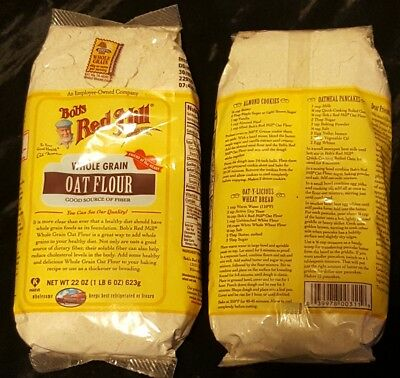 2 Two 22 oz. packs UNEXPIRED Bob's Red Mill Whole Grain Oat Flour Free Shipping