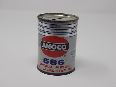 AMOCO 586 Special Piston And Valve Stem Oil Tin Can Coin Bank Americana
