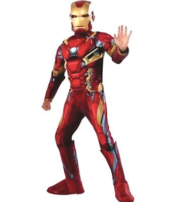 NEW Iron Man Muscle Chest Child Costume Boys Large (L) Size 12-14 Rubies 630340