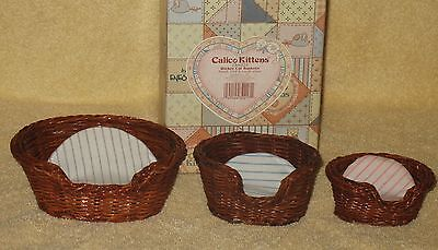 Calico Kitten Wicker Basket Set Mib