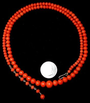 Long Antique Victorian Natural Dark Salmon Red Coral Graduated Bead Necklace 14K