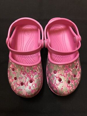 43241f78fbbe NEW CROCS ADRINA Girls Toddler Sz C8 Pink Heart Mary Jane Sandals ...