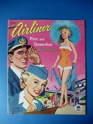 Vintage 1953 AIRLINER PILOT and STEWARDESS Paper Dolls Book Original UNUSED