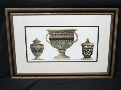 LF42621: Neoclassical Gold & Black Framed Urn Print Double Matted Print ~NEW