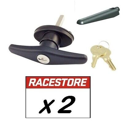 CANOPY T LOCK HANDLE Rear Fixing BLACK with tongues - 2 PACK - Keyed Alike