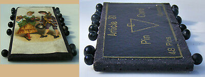 Antique German Article 31 Black Glass Straight Pin Card Victorian Die Cut Couple