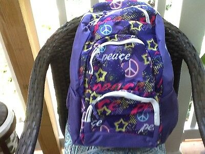 peace and Love purple  multi colored Girls backpack