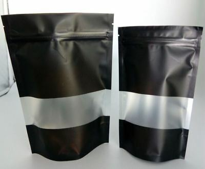 100x 70G(200ML) MATTE BLACK STAND UP POUCH WITH RECTANGLE WINDOW AND ZIP LOCK