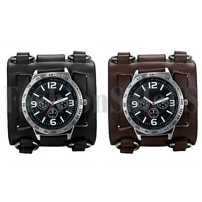 Black Brown Wide Genuine Leather Punk Style Watch Straps Men's Cuff Wristwatch