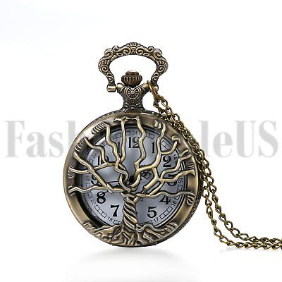 Retro Vintage Tree of Life Steampunk Quartz Pocket Fob Watch Chain for Men Women