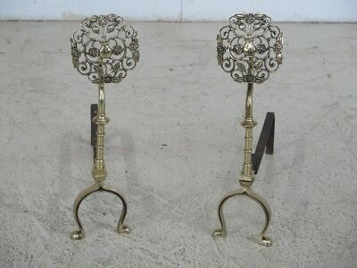 F29672EC: Vintage Brass Arts & Crafts Style Fireplace Andirons