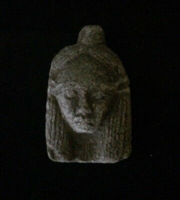 EGYPTIAN ANTIQUE FAIENCE AMULET Is a Small EGYPT Carved STONE Face 4400–3100 B.C