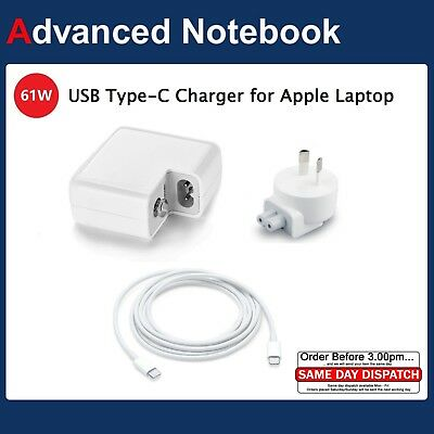 """61W Power Adapter Charger For Apple Macbook 13"""" USB-C Type C Cable Power Supply"""