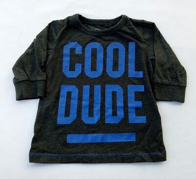 "Next Brand Boys T-shirt Size 0 Dark Grey Blue Embossed ""Cool Dude"" Long Sleeve"